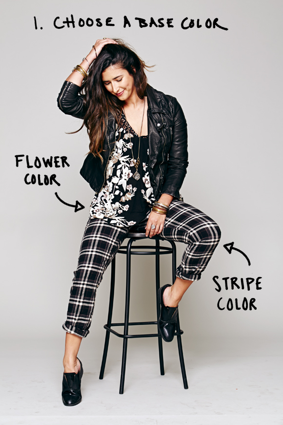 how to mix plaid with floral