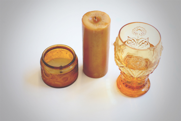 Amber glass and candles
