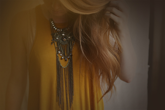 Amber tank and necklace