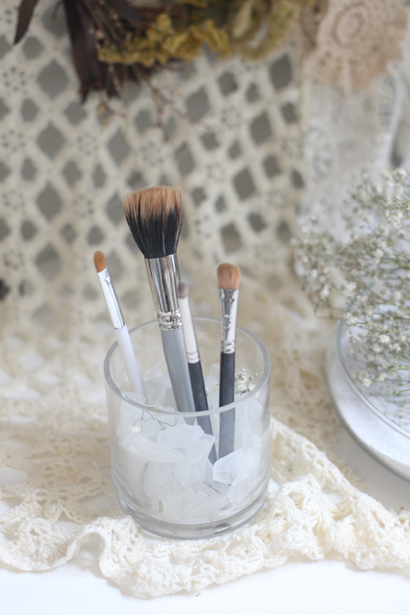 Makeup brushes beach glass