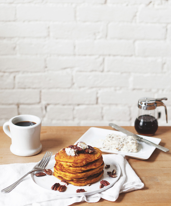 Post image for Pumpkin Pancakes With Maple Pecan Compound Butter