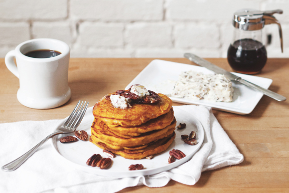 Thumbnail image for Pumpkin Pancakes With Maple Pecan Compound Butter