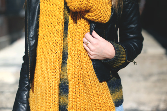 layered yellow scarf detail