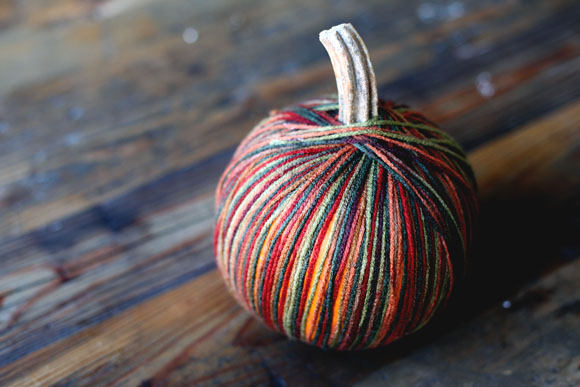 finished yarn bombed pumpkin