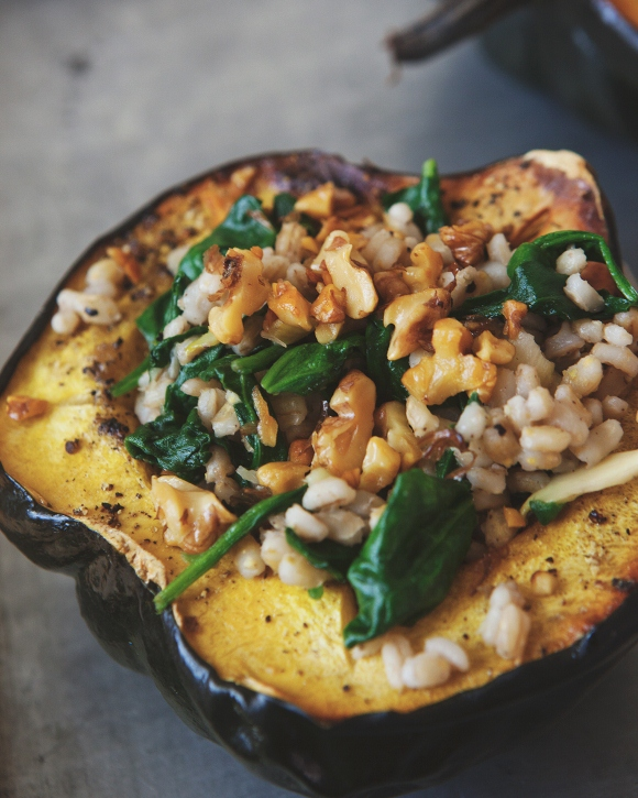 Roasted Acorn Squash Bowls With Barley Spinach Salad
