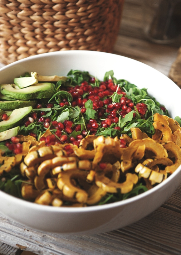 Post image for Arugula Salad With Roasted Delicata Squash, Avocado, & Pomegranate