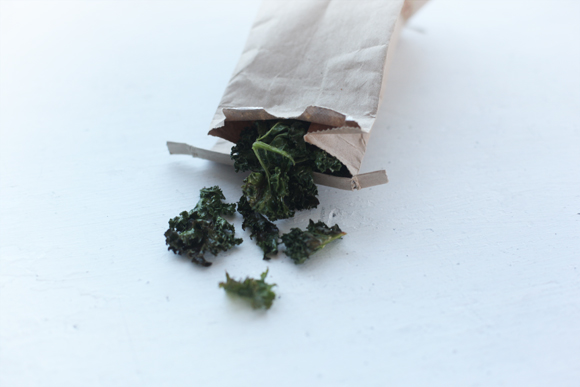 Kale chips in brown bag