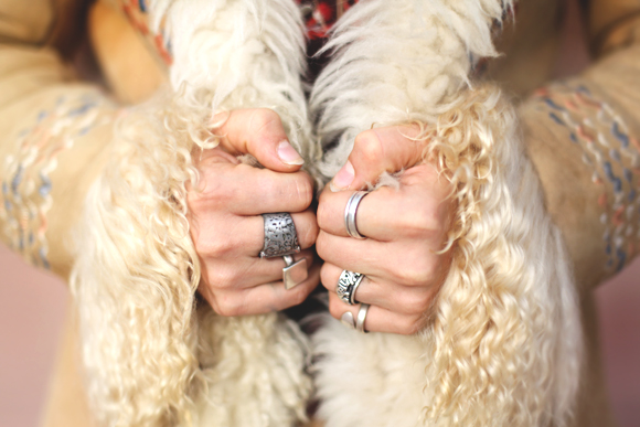 rings and furry sleeves