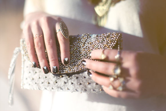tuxedo girl nails and clutch