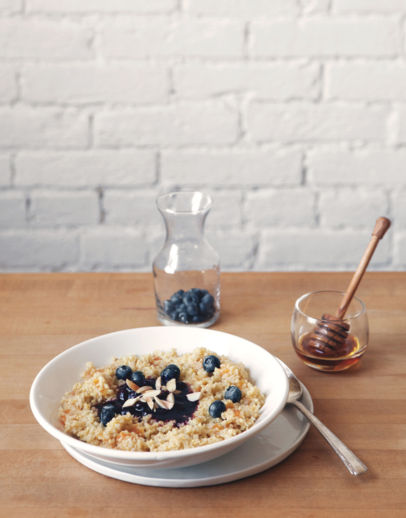Honey Apricot Millet with Blueberry Compote