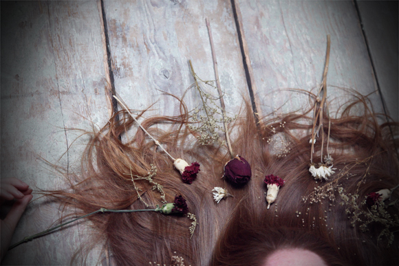 Red hair, dried flowers