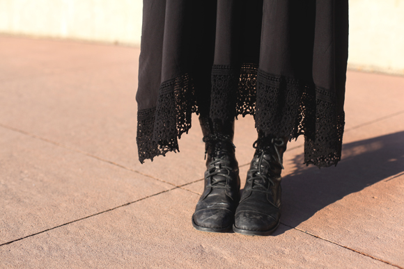 black boots and lacey slip