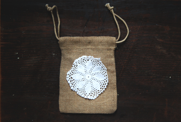 doily on burlap bag