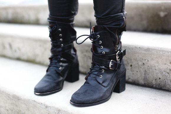 leather strappy boots