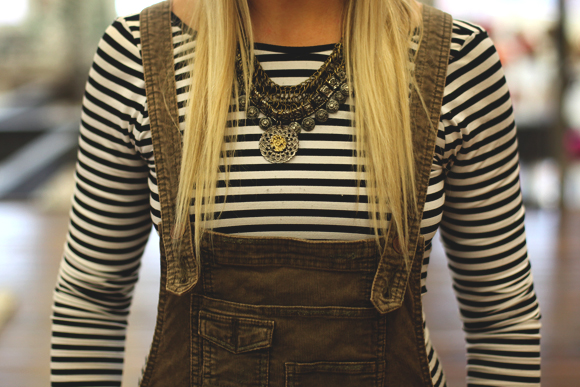 necklace and striped shirt