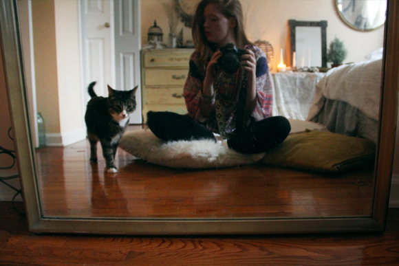 Cat, girl, mirror, camera