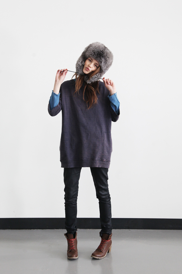 Free People model Anastasia furry hat