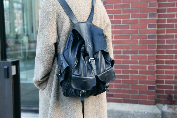 Leather backpack, tan coat