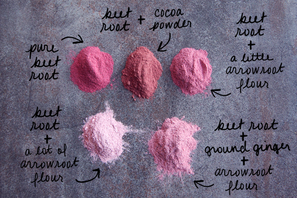 Different shades of blush using beet root