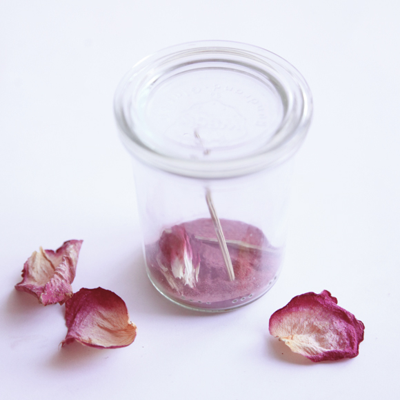 Glass jar, rose petals