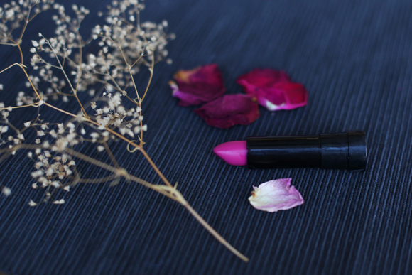 Pink lipstick, dried flowers