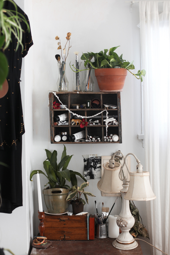 Plants, antiques, paint, shelves
