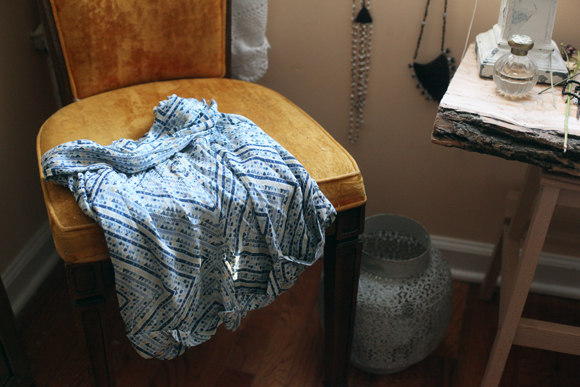 Printed shorts on chair