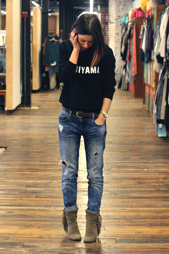 jeans and sweatshirt
