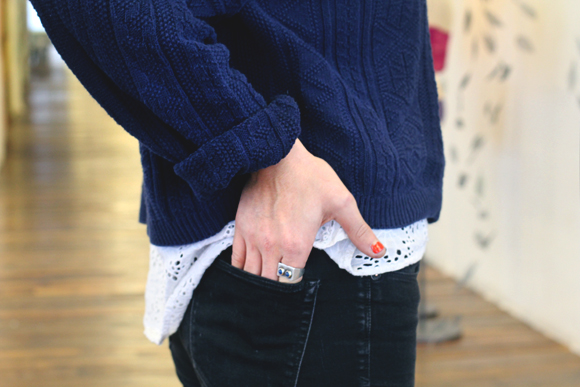 layered sweater detail