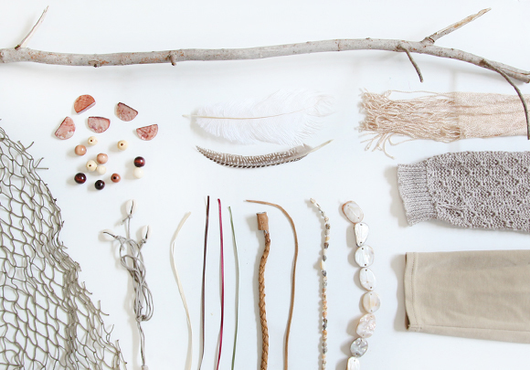 Feathers, beads, string