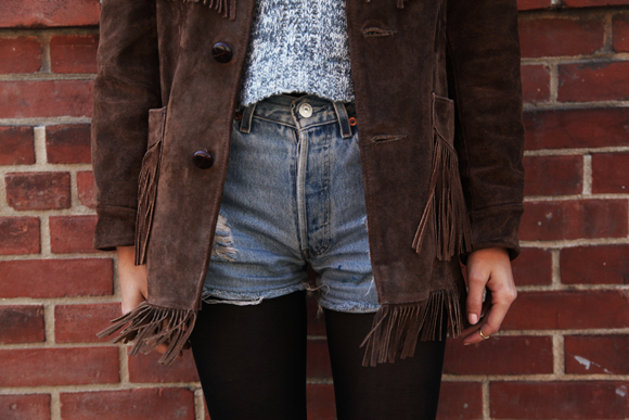 Fringe suede jacket, denim shorts