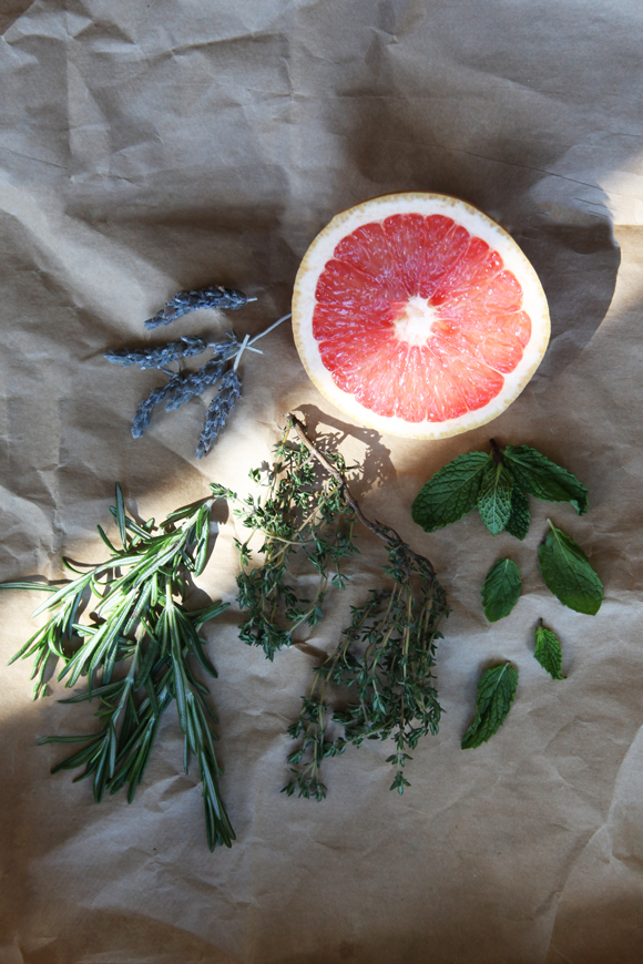 Grapefruit and herbs