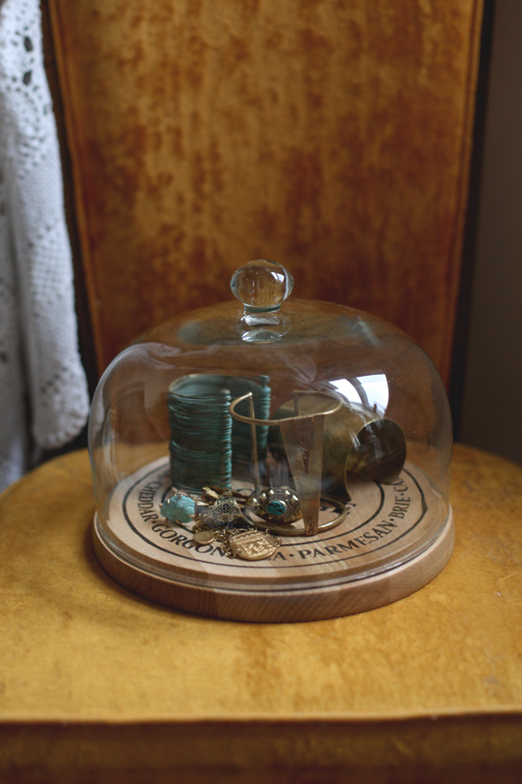Jewelry in glass dome