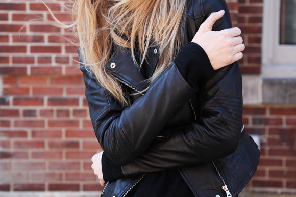 Leather jacket, blonde hair