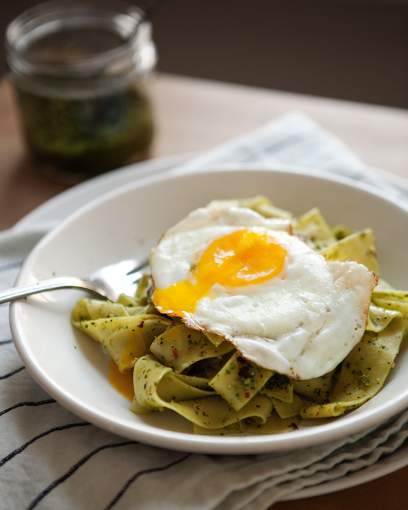 Post image for Pappardelle With Dandelion Pesto