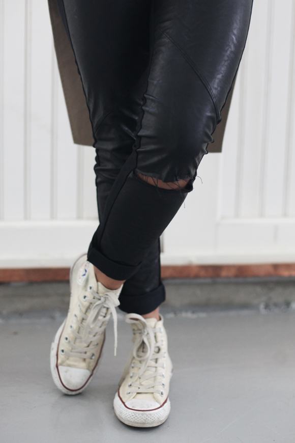 Ripped leather pants, white Converses