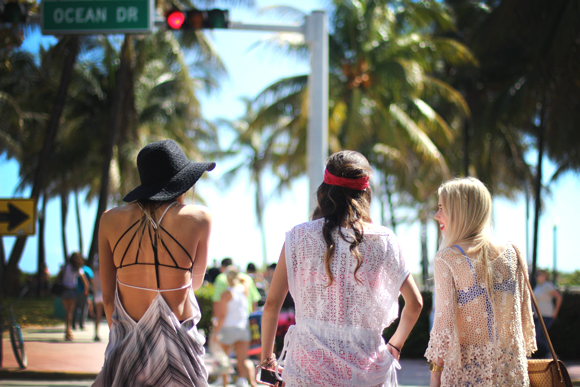 girls walking on ocean drive