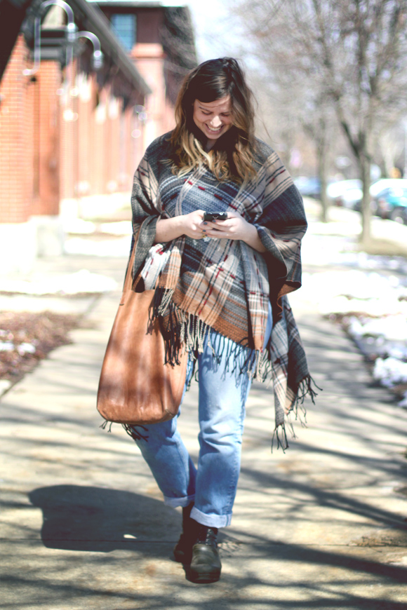 poncho jeans and clogs