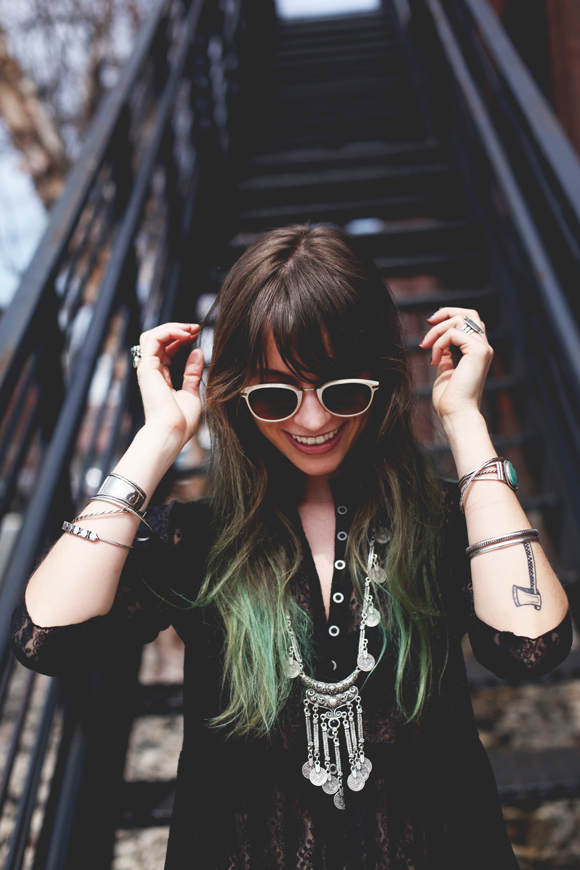 Green hair, sunglasses, lace dress