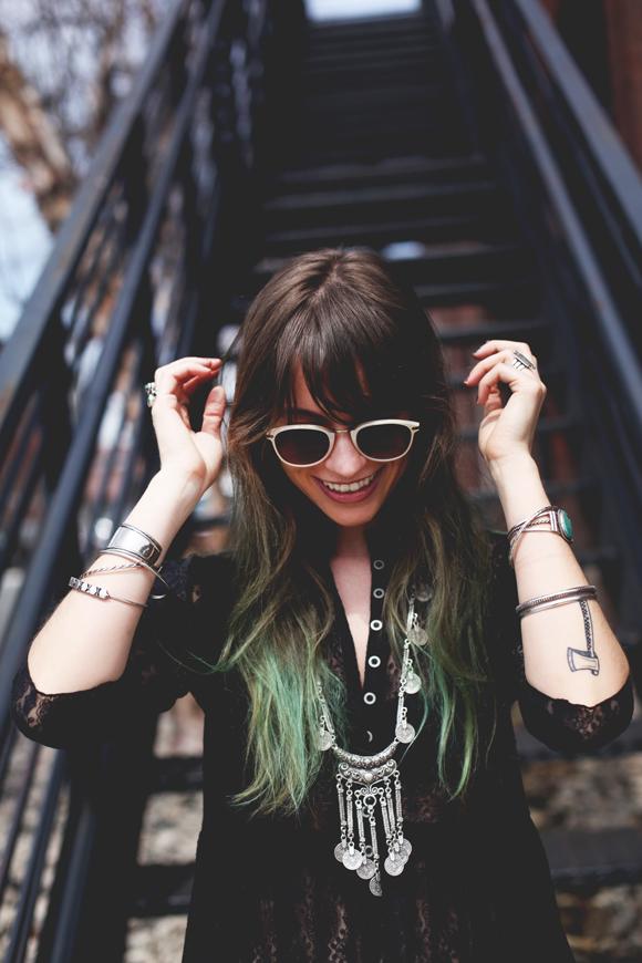 Green hair, sunglasses, lace dress