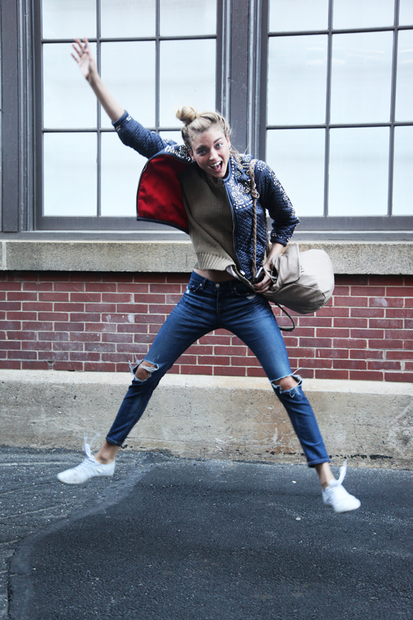 Martha Hunt jumping