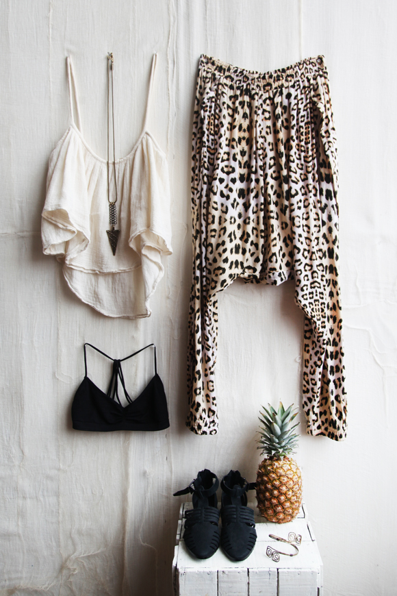 Spring outfit, leopard, pineapple