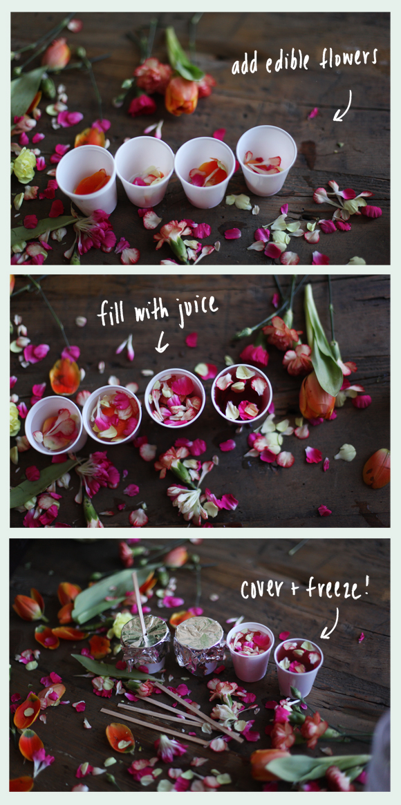 Steps for making flower ice pops