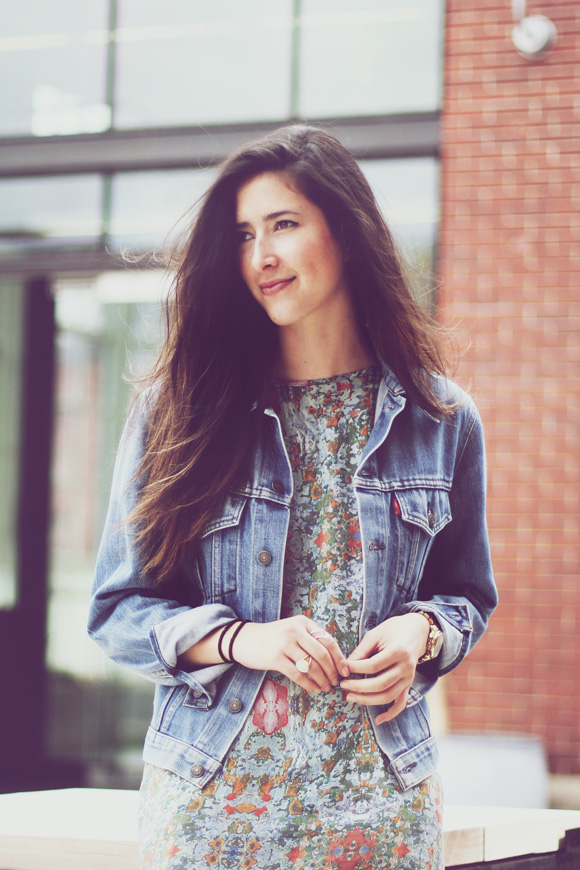 spring dress and denim jacket