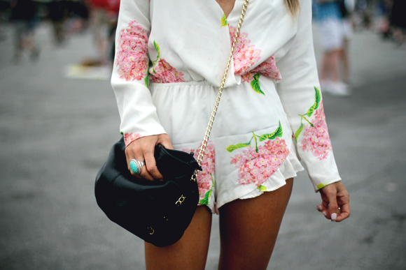 romper and bag detail