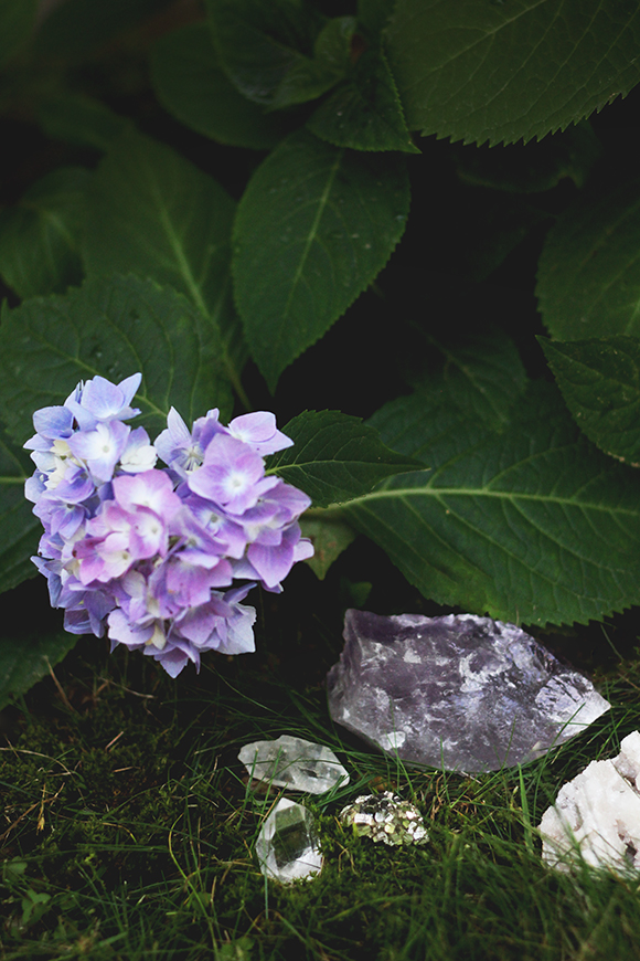 crystals in garden