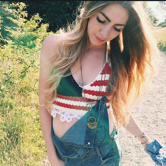 overalls and flag top
