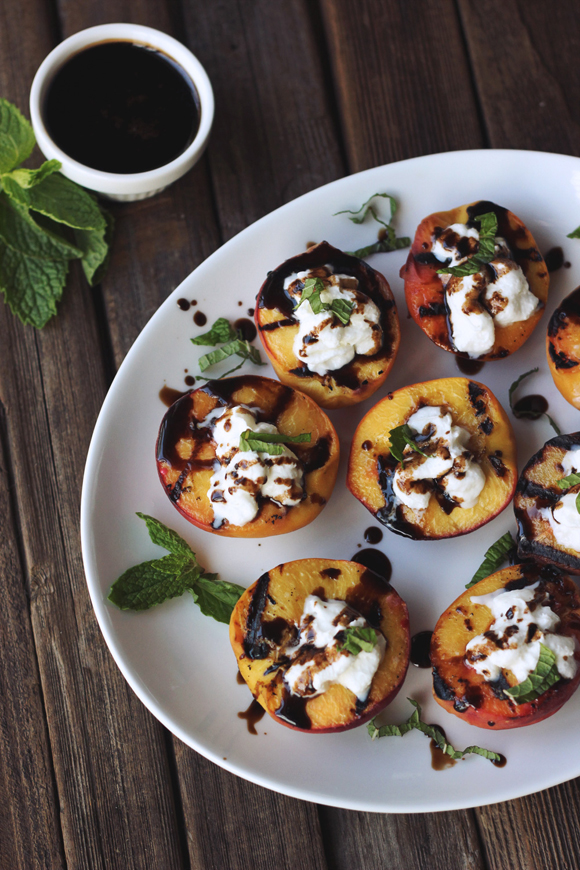 Grilled Peaches with Whipped Coconut Cream, Honey Balsamic Drizzle and ...