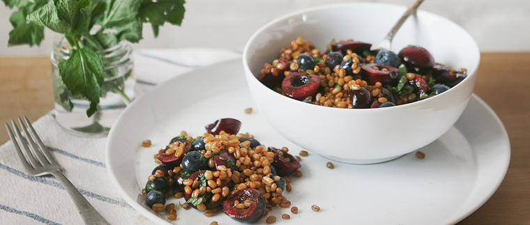 cherry mint wheatberry salad