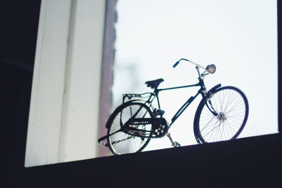 bicycle in window